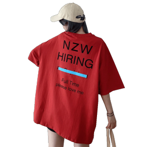 Design sense pocket hole letter short sleeve T-shirt women's loose large top