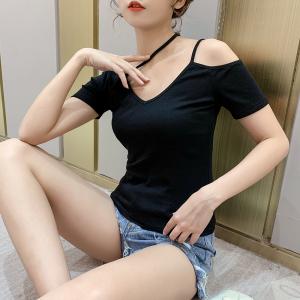 YF34864# 夏季新款韩版短袖上衣女修身性感心机漏锁骨t恤V领小众 服装批发女装直播货源
