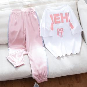 休闲运动套装女学生九分裤网红宽松嘻哈洋气两件套潮