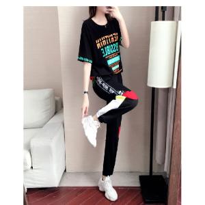 欧洲站运动套装女时尚宽松韩版T恤短袖休闲裤两件套