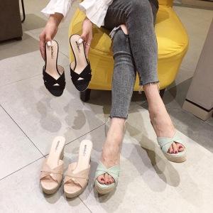 X-25137# 坡跟凉鞋夏季编织麻绳韩版百搭绒面纯色带子拼接拖鞋女 女鞋批发鞋子货源