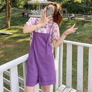 YF55707# 背带裤女夏季新款甜美紫色泡泡袖雪纺衫+阔腿短裤两件套 服装批发女装直播货源