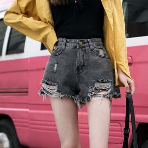 牛仔短裤女夏款chic宽松显瘦阔腿高腰a字女热裤