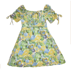 FS81996# 法式碎花裙夏季新款气质女装高腰显瘦裙子短袖方领连衣裙 服装批发女装货源