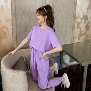 减龄休闲套装女紫色短袖T恤+九分裤时尚小个子两件套