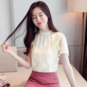 YF46873# 韩国白色短款蕾丝打底衫女2021夏新款韩版洋气短袖雪纺衫女上衣