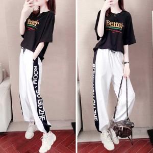 运动套装女潮牌时尚韩版宽松洋气休闲裤两件套