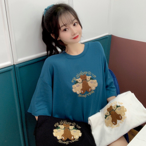 YF13720# 短袖t恤女中长款半袖卡通上衣刺绣 服装批发女装直播货源