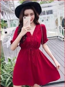 YF24541# 小个子小清新雪纺高腰冷淡风v领复古淑女连衣裙女夏2020新款裙子