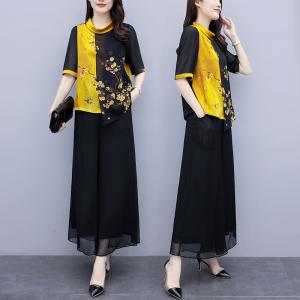 FS92936# 大码女装胖mm夏遮肉显瘦减龄套装印花上衣阔腿裙裤两件套