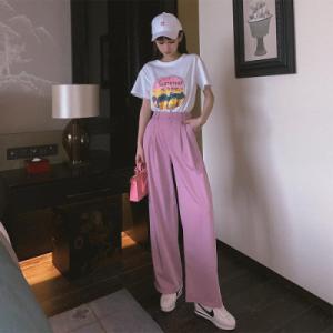 小个子减龄显瘦显高少女风套装中长款洋气T恤女阔腿拖地裤两件套