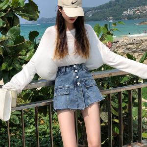 牛仔裙裤学生宽松短裤假两件裤裙a字裙牛仔半身裙子