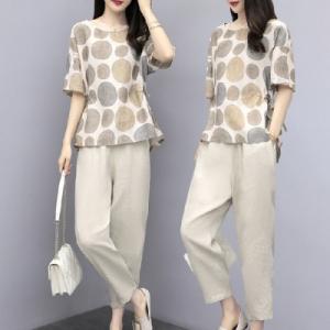 两件套棉麻女洋气减龄遮肚时尚休闲小个子显高套装
