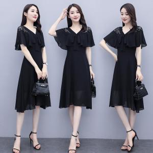 YF20552# 2020新夏复古气质长款长裙女大摆短袖显高收腰显瘦雪纺拼接连衣裙
