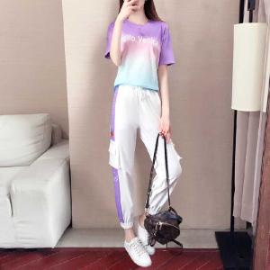 网红休闲运动套装女夏洋气时尚韩版紫色短袖两件套夏