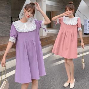 YF47606# 夏季新款A型娃娃领甜美蕾丝荷叶边拼接连衣裙