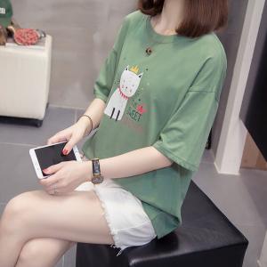 胖妹妹宽松显瘦遮肚大码T恤韩版洋气打底衫