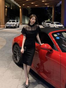 FS89391# 阿姐家我超有气质的 网纱拼接包臀裙气质性感小黑裙