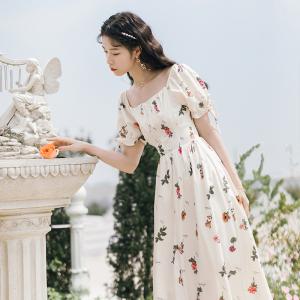 YF26094# 高腰复古碎花智熏裙法式桔梗白色连衣裙长裙