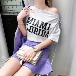 FS82011# 网红破洞一字肩上衣短袖T恤女夏季港味学生欧货宽松显瘦大码T 服装批发女装货源
