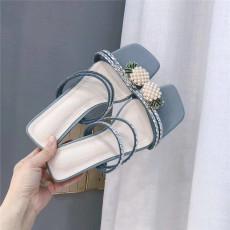 广州批发实拍 质量超好  大量现货 2020夏季新款性感百搭水钻中跟半拖鞋女