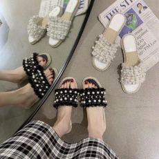 广州批发网红一字拖2020夏季小香仙女风格子外穿平底凉拖鞋舒适珍珠度假潮