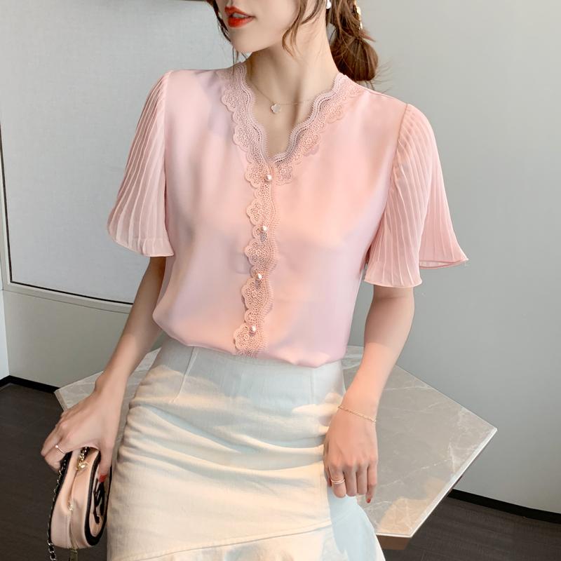 实拍短袖女装2020年夏季新款雪纺衫气质蕾丝衬衫v领上衣洋气小衫-SOOSHOW搜秀-