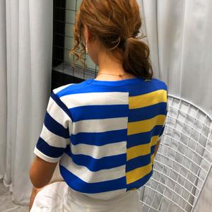 FS82012# 夏季个性条纹拼接T恤女短袖撞色圆领宽松设计感针织衫女 服装批发女装货源