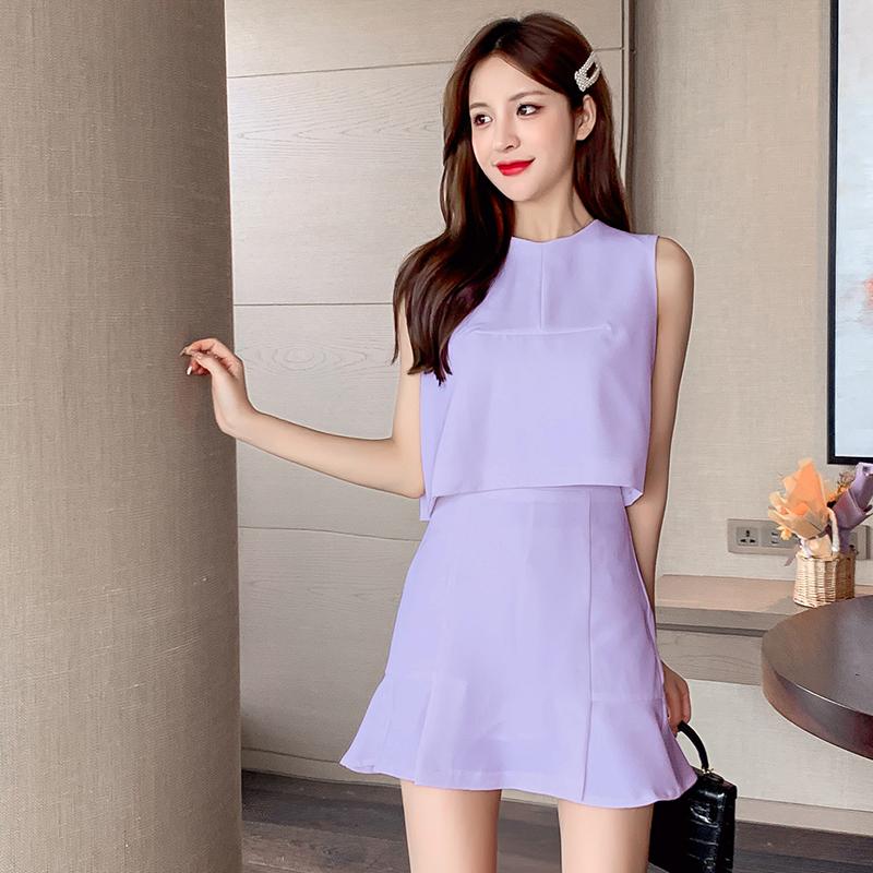 实拍夏季新款气质绑带减龄小个子背心马甲女+高腰短裙法式两件套-唯美嘉服饰-
