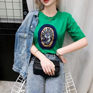 FS82013# 韩版圆领白色印花短袖T恤女春装新款ins百搭显瘦打底上衣 服装批发女装货源