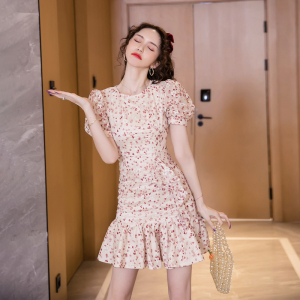 FS90011# 夏款韩版时尚气质egg法式桔梗裙碎花连衣裙女