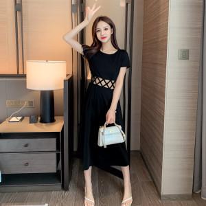 YF36734# 黑色连衣裙新款夏长款过膝收腰性感小黑裙高腰气质显瘦长裙女 服装批发直播货源