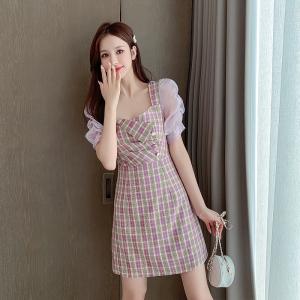 FS91231# 夏装新款格子裙子短袖连衣裙女潮