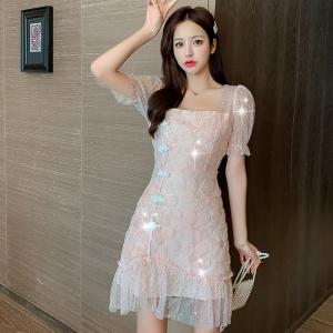 YF16440# 闪闪刺绣亮片旗袍鱼尾裙2020年夏季新款收腰显瘦气质显色连衣裙女