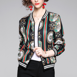 FS98822# 爆款宽松短外套新款时尚潮牌印花棒球服短款夹克上衣女装 服装批发女装直播货源
