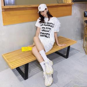 FS82162# 中长款连衣裙蕾丝袖子拼接字母印花女装T恤