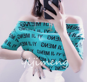 FS82014# 一字肩上衣女夏季修身短款露锁骨字母印花chic洋气短袖T恤棉 服装批发女装货源