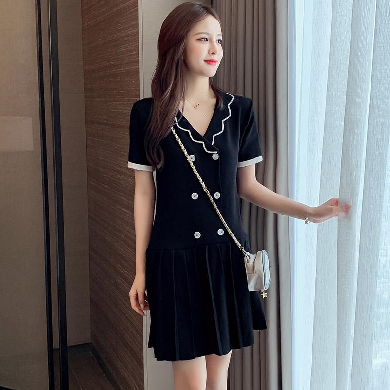 实拍黑色连衣裙2020夏气质女装小个子显瘦显高裙子女夏天小黑裙潮-唯美嘉服饰-