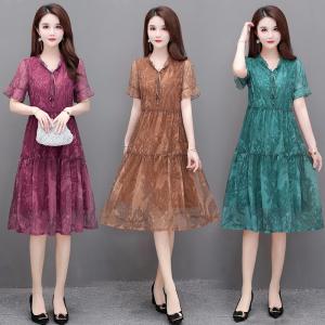 YF35908# 夏季新款宽松阔太太中长款时尚气质显瘦网纱连衣裙女