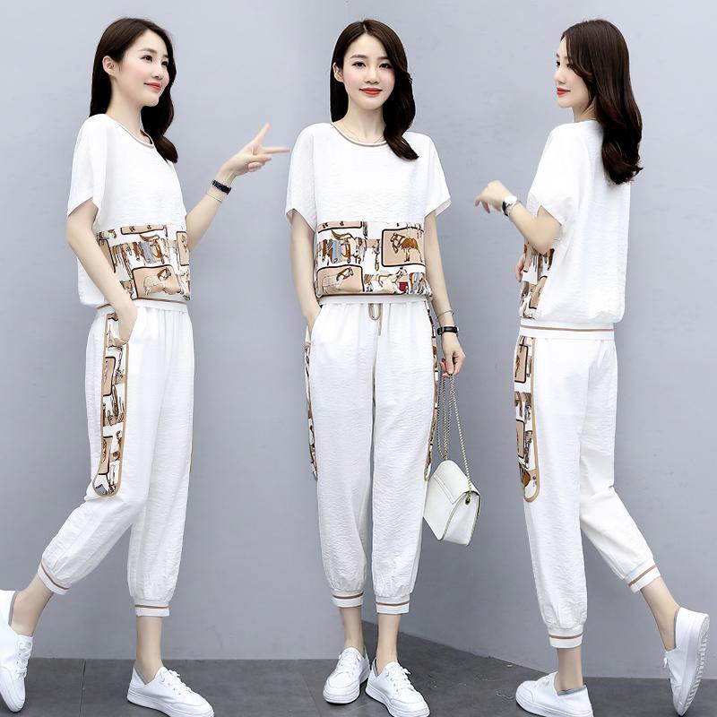 时尚套装女两件套夏装2020新款女装减龄洋气显瘦休闲束脚裤套装裤-郡宇服饰-