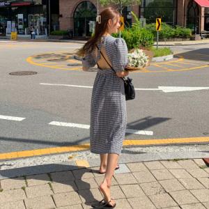 YF14362# 韩国chic法式气质小众设计感镂空显瘦连衣裙女