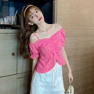YF34868# 夏季法式泡泡袖短袖一字领短款露脐上衣T恤女设计感小众 服装批发女装直播货源