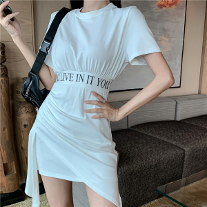 FS88116# 纯棉不规则连衣裙连衣裙夏新款原创设计小众褶皱下摆裙子 服装批发女装货源