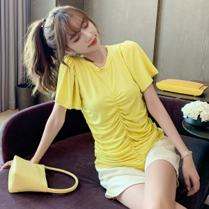 YF34869# 短袖t恤女夏装新款褶皱设计感小众ins上衣韩版打底衫 服装批发女装直播货源
