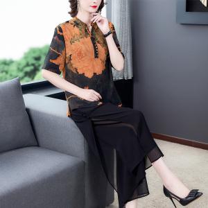 FS99989# 夏季新款中国风印花短袖直筒上衣雪纺阔腿裤两件套装女