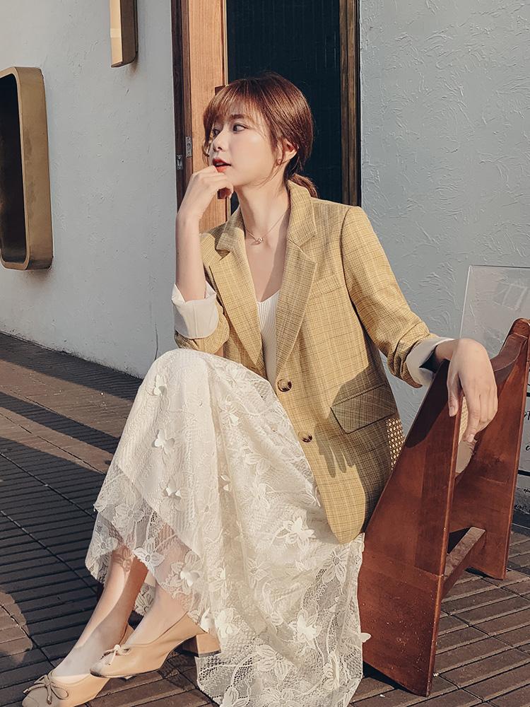 宿本网红格子小西装外套女2020春季新款黄格纹休闲chic西服英伦风-莎积-