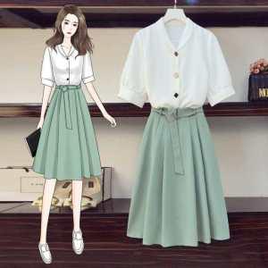 YF19659# 春夏短袖雪纺上衣半身裙洋气减龄时尚裙子套装