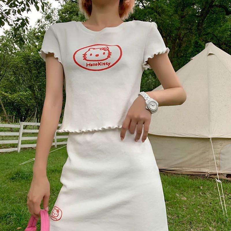 LIN CHAO ZHANG KT针织冰麻套装女夏季时尚针织小上衣+半身裙-美伊人【2店】-