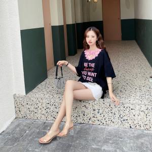FS82158# 花边交叉V领纯棉字母印花韩版宽松女装T恤