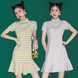 FS98257# 日常改良短款格子旗袍年轻款少女小个子连衣裙学生夏 服装批发女装直播货源